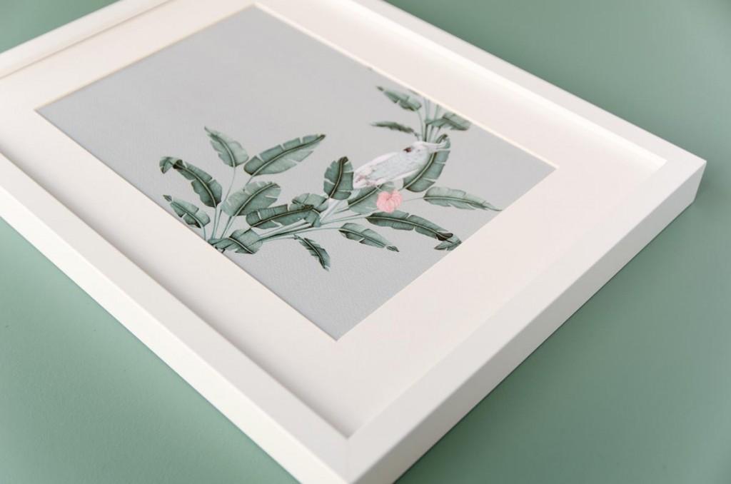 Detalles de boda originales lamina decoracion acuarela loro platanera HORIZONTAL planta - Coleccion platanera (1)