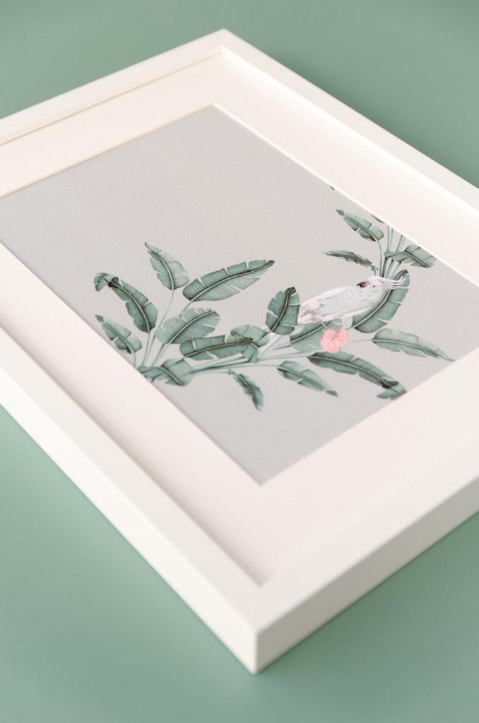 Detalles de boda originales lamina decoracion acuarela loro platanera HORIZONTAL planta - Coleccion platanera (3)