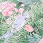 Detalles de boda originales lamina decoracion acuarela loro platanera completa planta - Coleccion SLEVA lamina