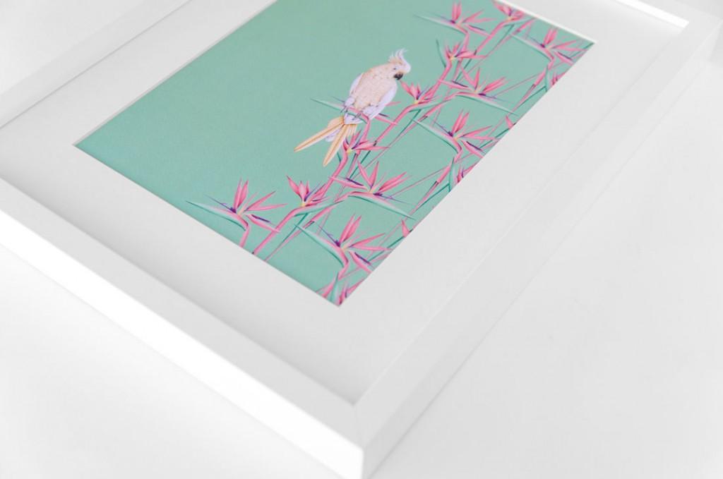 Detalles de boda papeleria lamina decorativa loro y flor pasion acuarela (12)