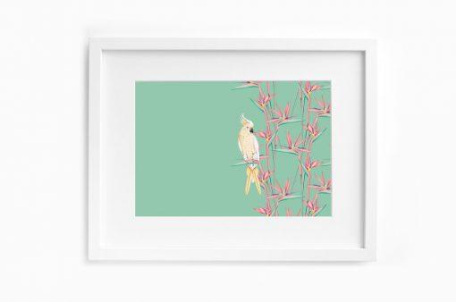 Detalles de boda papeleria lamina decorativa loro y flor pasion acuarela (17)