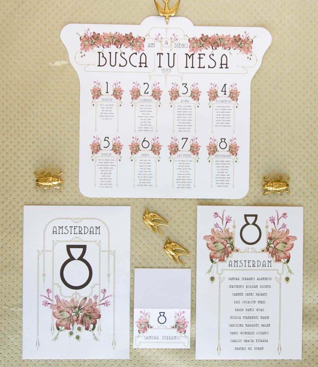 Invitaciones de boda acuarela Gatsby - papeleria completa - seating - pai pai-19