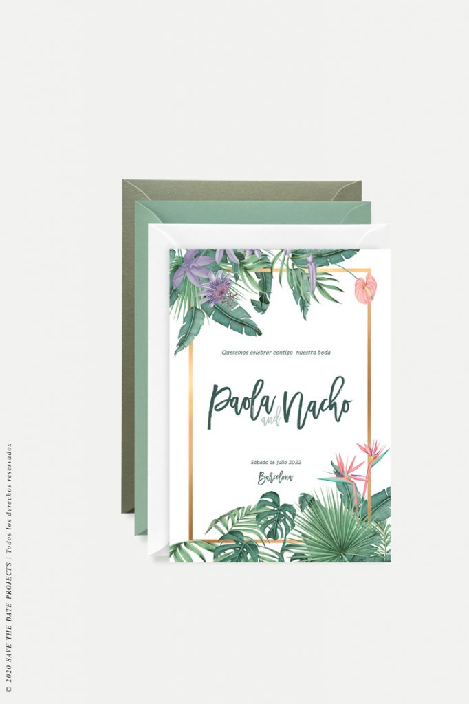 invitacion tropical selva dorado