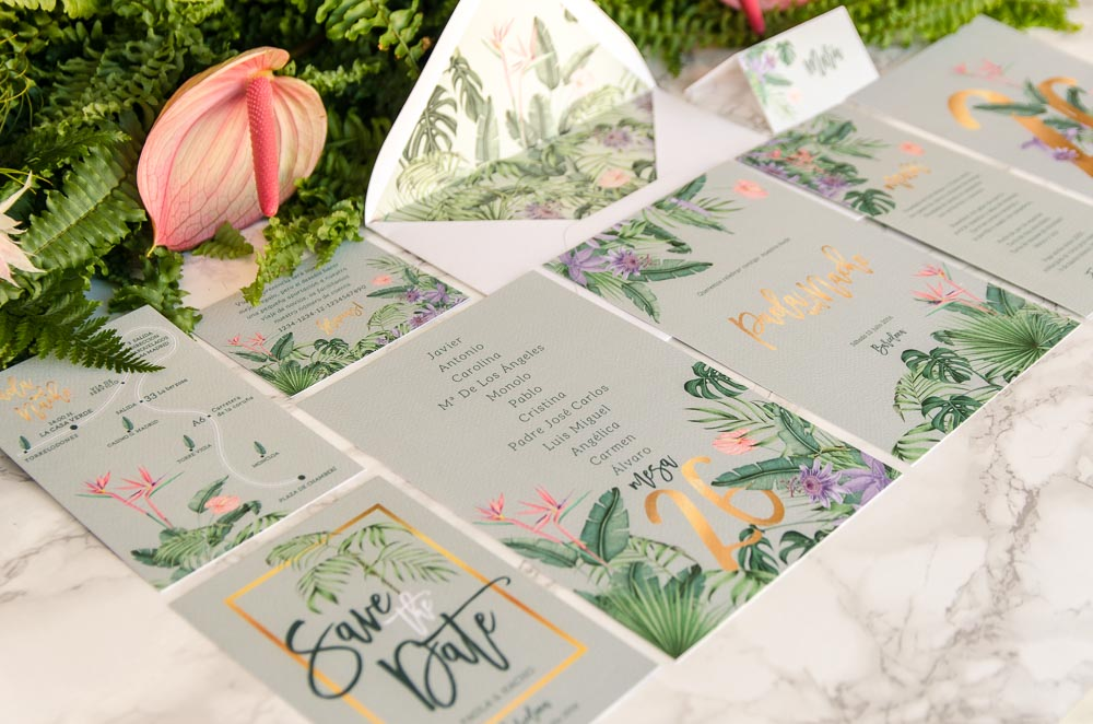 Matrimonio Tema Tropical : Invitaciones de boda originales acuarela tropical selva