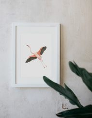 acuarela-botanica-donana-enmarcada-decoracion-marco-flamenco-volando