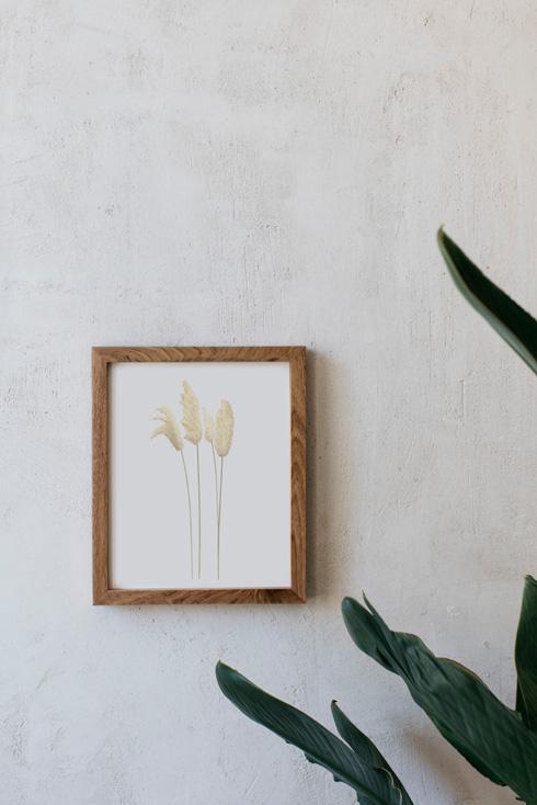 acuarela-botanica-donana-enmarcada-decoracion-marco-madera-vertical-herbe-pampa