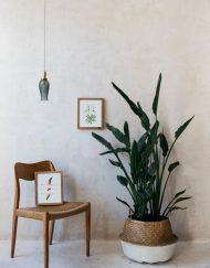 acuarela-botanica-donana-enmarcada-decoracion-marco-mimbre-flamencos-volando