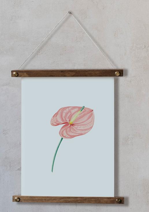 acuarela-botanica-tropical-enmarcada-decoracion-bastidor-vertical-suelto-lirio