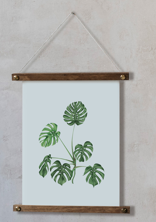 acuarela-botanica-tropical-enmarcada-decoracion-bastidor-vertical-suelto-monstera