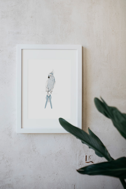 acuarela-botanica-tropical-enmarcada-decoracion-marco-loro-azul