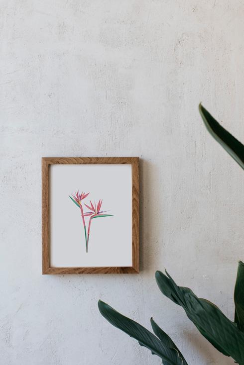 acuarela-botanica-tropical-enmarcada-decoracion-marco-madera-vertical-paraiso