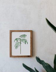 acuarela-botanica-tropical-enmarcada-decoracion-marco-madera-vertical-ravenea