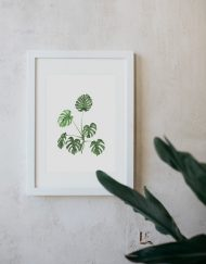 acuarela-botanica-tropical-enmarcada-decoracion-marco-monstera