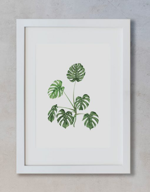 acuarela-botanica-tropical-enmarcada-decoracion-marco-vertical-suelto-monstera