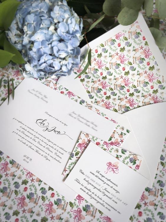 (Detalle trasera) Invitaciones de boda personalizadas, tarjeta de agradecimiento y lista de boda