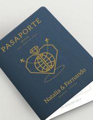 Invitación pasaporte viajes azul