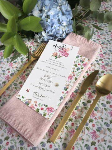 Minutas de boda personalizadas acuarela menus de boda