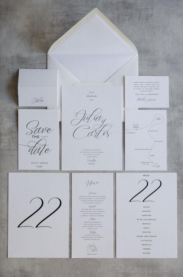 7475313de Tarjetas de invitaciones de boda elegantes caligrafia lettering - Blanca