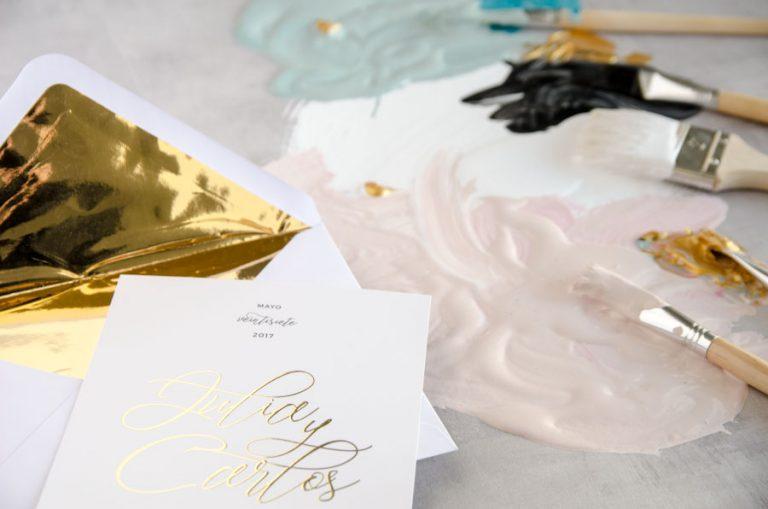 Tarjetas de invitaciones de boda elegantes caligrafia lettering CON DORADO (1)