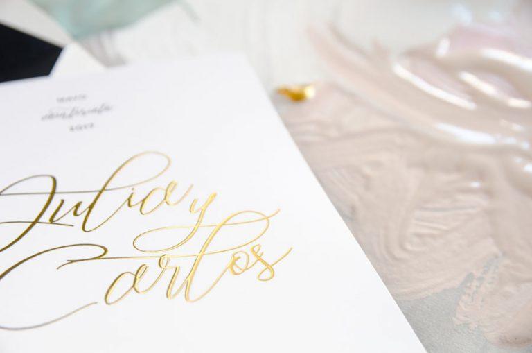 Tarjetas de invitaciones de boda elegantes caligrafia lettering CON DORADO (2)