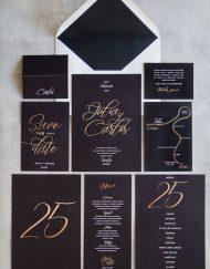 Tarjetas de invitaciones de boda elegantes caligrafia lettering - Negra Sobre negro