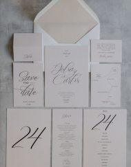Tarjetas de invitaciones de boda elegantes caligrafia lettering - Nude