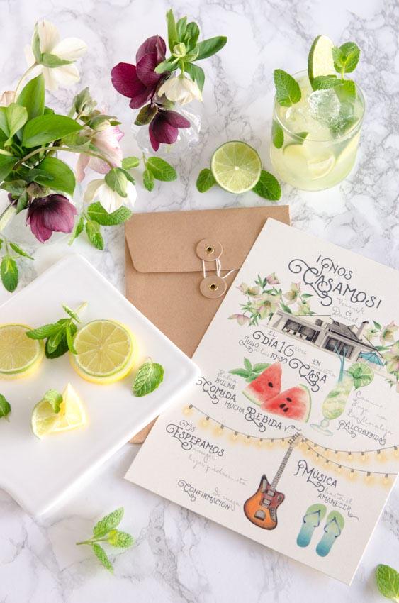 Tarjetas invitaciones de boda verano acuarela mojito sandalias-11