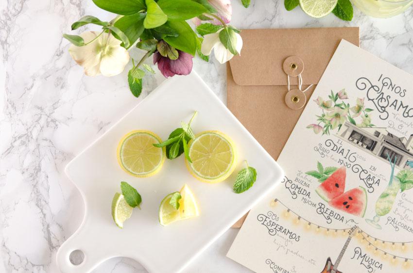 Tarjetas invitaciones de boda verano acuarela mojito sandalias-9