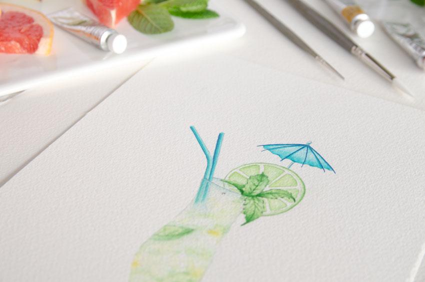 Tarjetas invitaciones de boda verano acuarela mojito sandalias-92