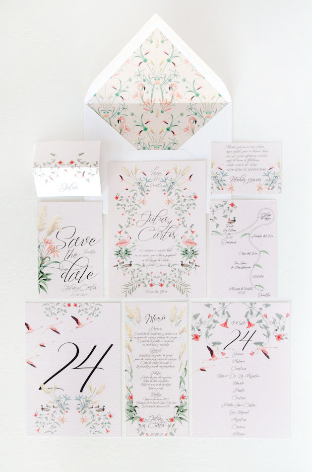 Coleccion Invitaciones de boda acuarela Donana acuarela by Save the date projects