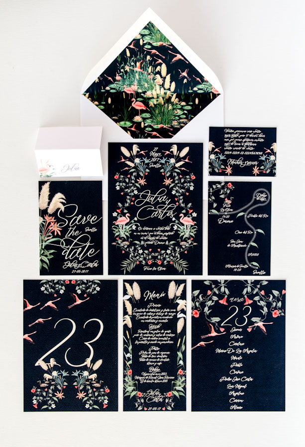 Invitaciones de boda acuarela tropical donana flamenco-Save the date projects