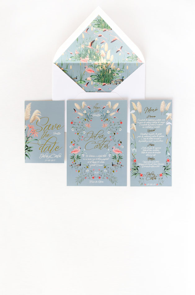 Invitaciones de boda dorada Donana acuarela by Save the date projects
