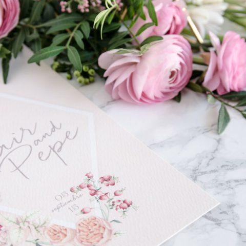 Tarjetas de invitaciones de boda románticas acuarela flores-6