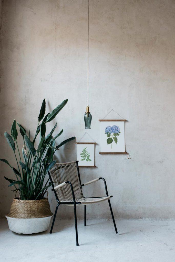 Ilustracion-hortensia-acuarela-botanica-campestre-enmarcada-bastidor-Hydrangea-azul-silla