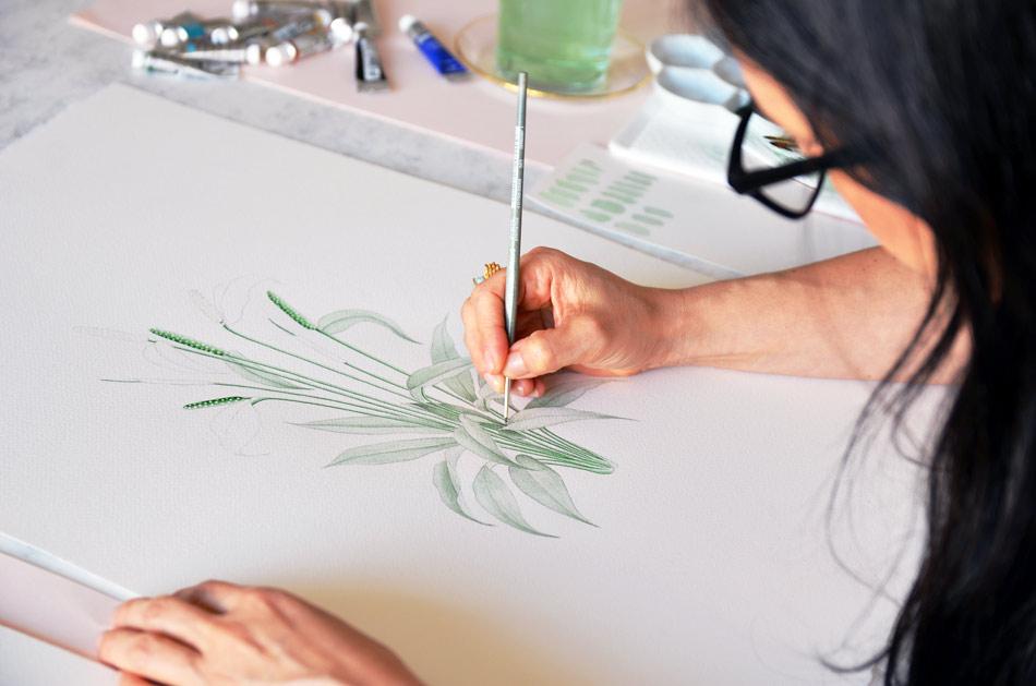 Ilustraciones botanicas en acuarela para bodas