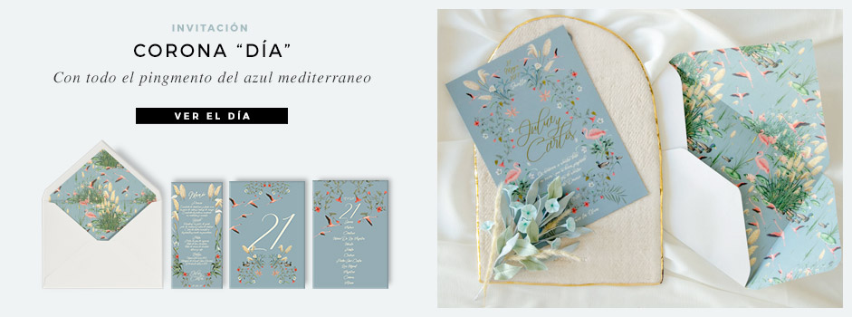Invitaciones de boda corona con acuarela Save the date projects - LANDING-INV-Doñana-Corona-dia