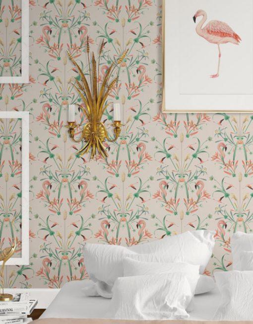 Papel pintado flamencos da un toque original a tu hogar - Papel pintado tropical ...