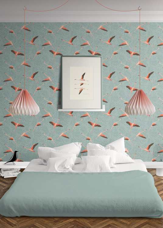 Papel pintado tropical da un toque original a tus habitaciones y ba os - Cenefas papel pintado para paredes ...