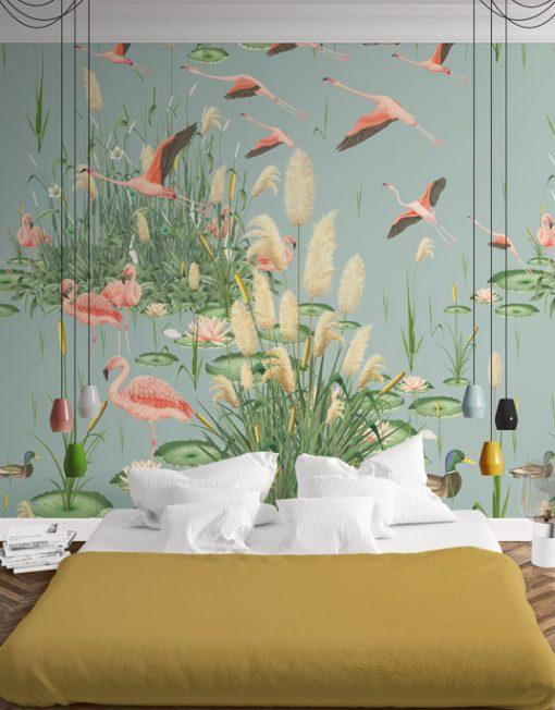 Mural papel pintado tropical da un toque original a tu hogar for Papel pintado flamencos