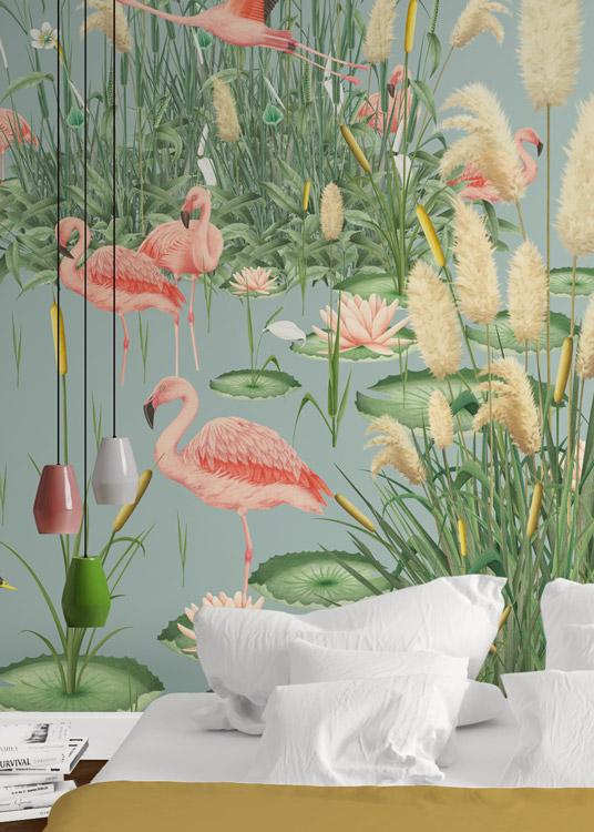 papel-pintado-tropical-con-flamencos-paisaje-donana-MURAL-HABITACION-detalle