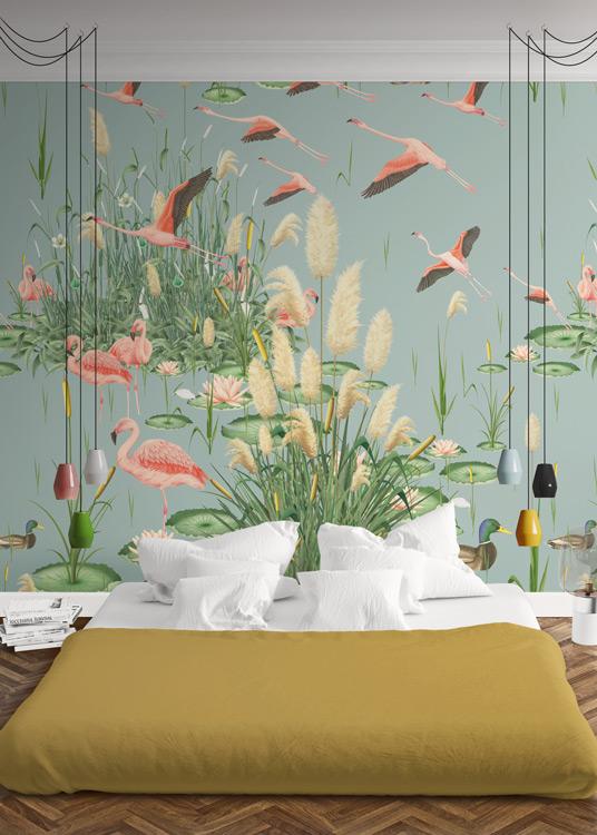 papel-pintado-tropical-con-flamencos-paisaje-donana-MURAL-HABITACION