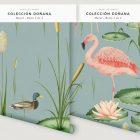 papel-pintado-tropical-con-flamencos-paisaje-donana-MURAL-rollos