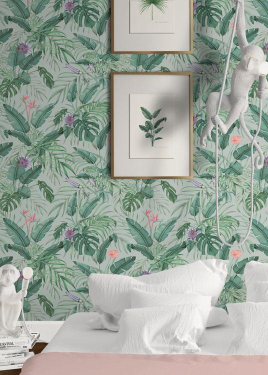 papel-pintado-tropical-con-flamencos-plataneras-palmeras--SELVA-PROFUNDA-detalle