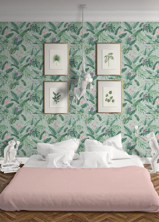 Papel pintado tropical da un toque original a tus - Habitaciones con papel pintado ...