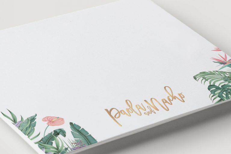 tarjeta-agradecimoento-acuarela-TROPICAL-selva-ANV-dorado-DETALLE