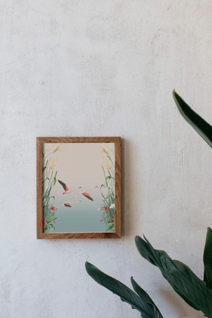 Ilustracion-acuarela-botanica-campestre-paisa-donana-enmarcada-madera