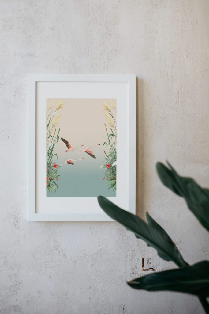 Ilustracion-acuarela-botanica-campestre-paisaje-doanana-enmarcada-blanco