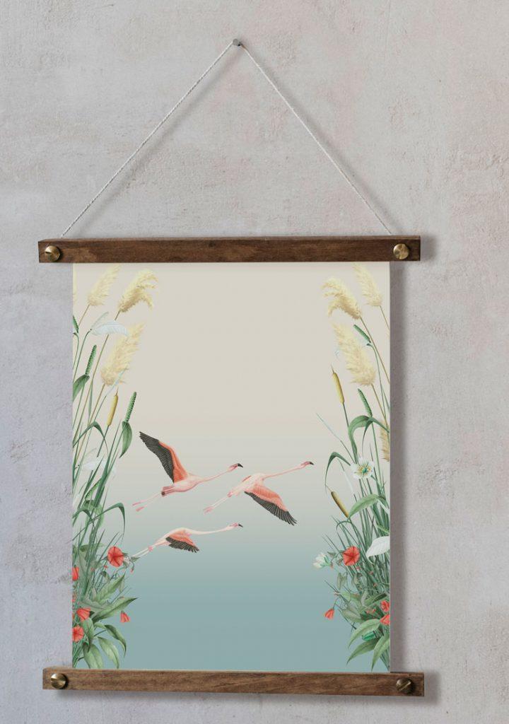 Ilustracion-acuarela-botanica-campestre-paisaje-donana-enmarcada-bastidor