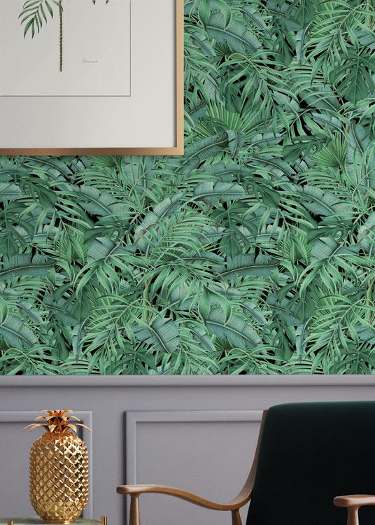 papel-pintado-tropical-con-flamencos-plataneras-palmeras-SELVA-TROPICAL-SALON-detalle