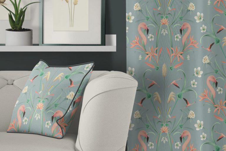 tela-de-algodon-estampada-cortinas-cojines-tropical-con-FLAMENCOS-BLUE-donana-cojin-detalle